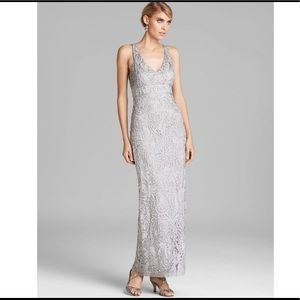 Sue wong lace embroidered gray gown